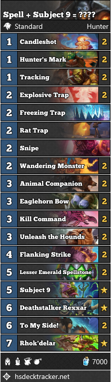 Spell + Subject 9 = ???? hunter Decklist