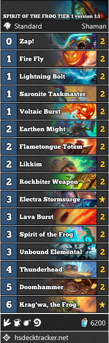 SPIRIT OF THE FROG TIER 1 version 1.1 shaman Decklist