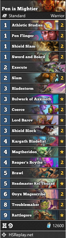 Pen Is Mightier warrior Decklist