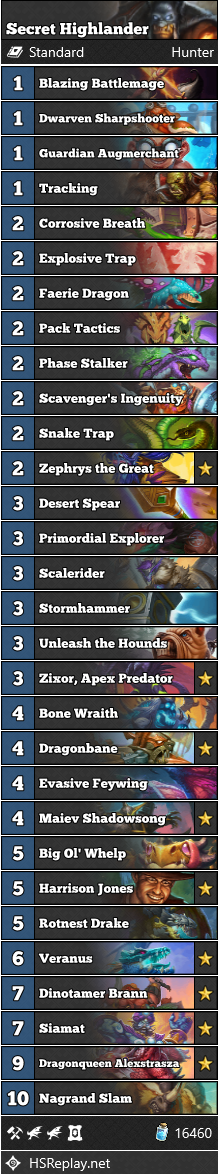Secret Highlander Hunter hunter Decklist